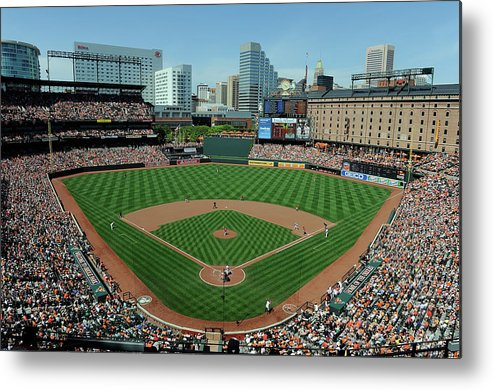 American League Baseball Metal Print featuring the photograph Houston Astros V Baltimore Orioles by Greg Fiume