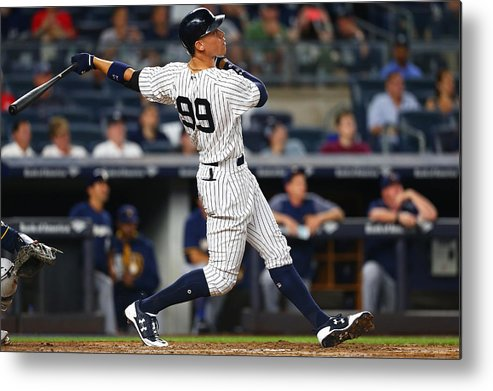People Metal Print featuring the photograph Milwaukee Brewers v New York Yankees by Mike Stobe