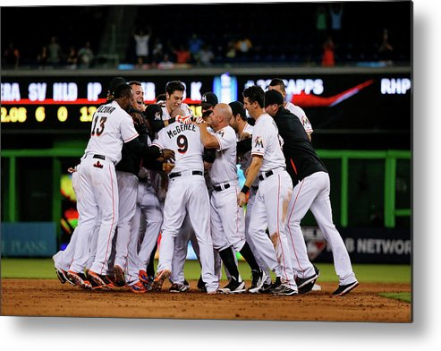 Ninth Inning Metal Print featuring the photograph New York Mets V Miami Marlins by Rob Foldy