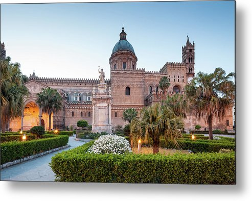 Saturated Color Metal Print featuring the photograph Palermo Cathedral At Dusk, Sicily Italy by Romaoslo