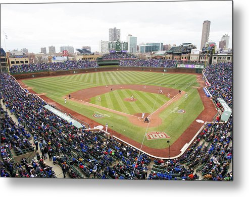 National League Baseball Metal Print featuring the photograph Philadelphia Phillies V Chicago Cubs by Ron Vesely