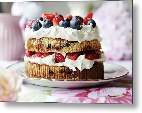 West Yorkshire Metal Print featuring the photograph Plate Of Fruit And Cream Cake by Debby Lewis-harrison
