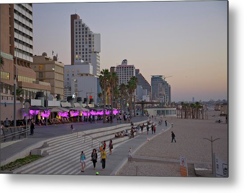 People Metal Print featuring the photograph Seaside Promenade Of Tel Aviv At Dusk by Barry Winiker