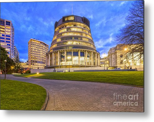 Wellington Metal Print featuring the photograph The Beehive Wellington New Zealand by Colin and Linda McKie