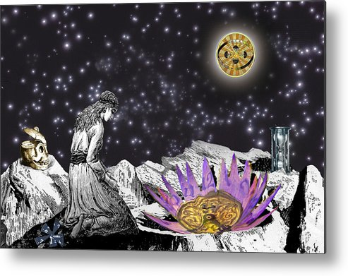 Young Woman Metal Print featuring the digital art The Clock's Petals Open by Lisa Yount