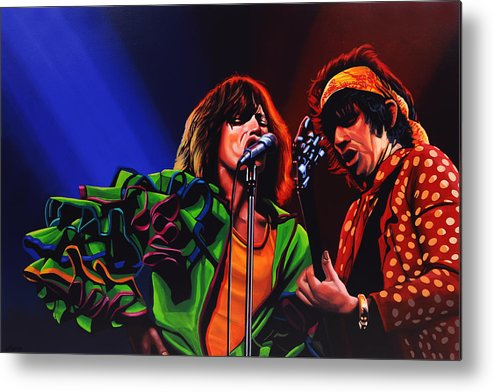 The Rolling Stones Metal Print featuring the painting The Rolling Stones 2 by Paul Meijering