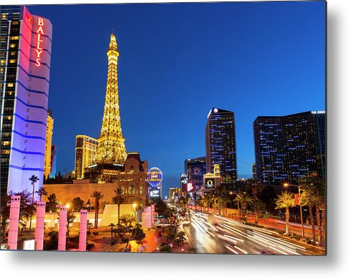 Las Vegas Replica Eiffel Tower Metal Print featuring the photograph Usa, Nevada, Las Vegas, Paris Las Vegas by Sylvain Sonnet