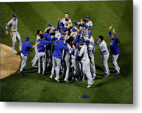 American League Baseball Metal Print featuring the photograph World Series - Kansas City Royals V New by Tim Bradbury