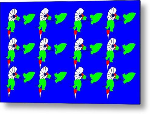 12 Bindweed Flowers On Blue Metal Print featuring the digital art 12 Bindweed Flowers on blue by Asbjorn Lonvig