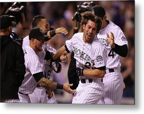 Celebration Metal Print featuring the photograph New York Mets V Colorado Rockies by Doug Pensinger