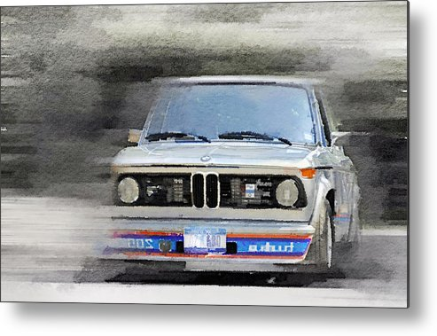 Bmw 2002 Metal Print featuring the painting 1974 Bmw 2002 Turbo Watercolor by Naxart Studio