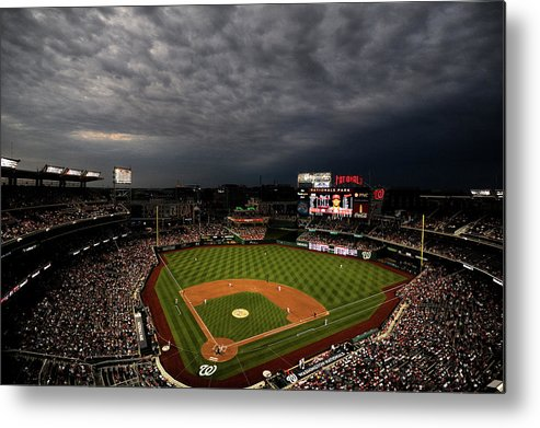 American League Baseball Metal Print featuring the photograph Cincinnati Reds V Washington Nationals by Patrick Smith