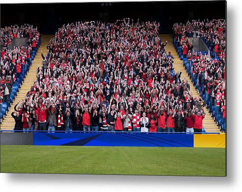 Crowd Metal Print featuring the photograph Football crowd in stadium by Image Source