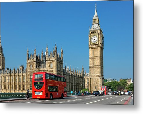 Clock Tower Metal Print featuring the photograph London, Big Ben And Traffic On by Sylvain Sonnet