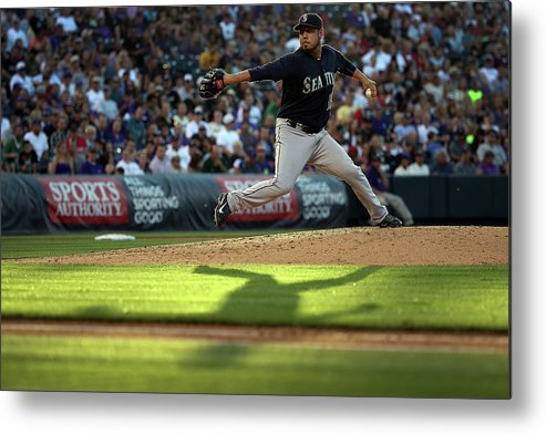 People Metal Print featuring the photograph Seattle Mariners V Colorado Rockies by Doug Pensinger