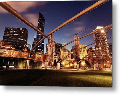 Downtown District Metal Print featuring the photograph Usa, Illinois, Chicago, Cityscape by Henryk Sadura