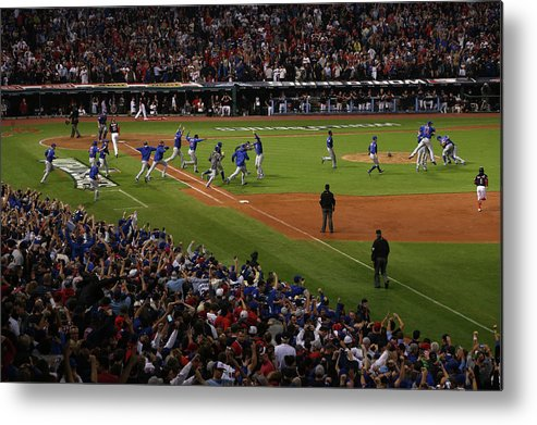 American League Baseball Metal Print featuring the photograph World Series - Chicago Cubs V Cleveland by Ezra Shaw