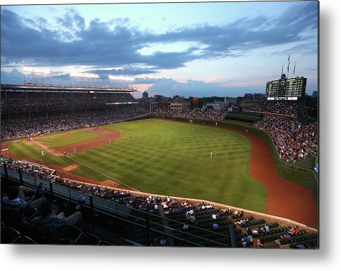 National League Baseball Metal Print featuring the photograph Cincinnati Reds V Chicago Cubs by Jonathan Daniel