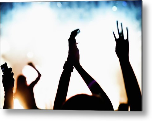 Rock Music Metal Print featuring the photograph Concert Crowd by Alenpopov