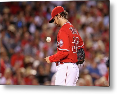 Three Quarter Length Metal Print featuring the photograph Houston Astros V Los Angeles Angels Of by Stephen Dunn
