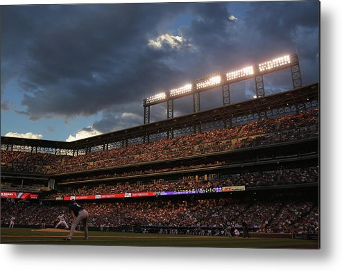 National League Baseball Metal Print featuring the photograph Milwaukee Brewers V Colorado Rockies by Doug Pensinger