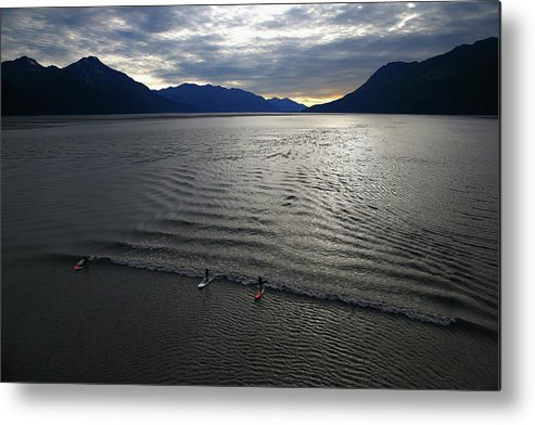 Tidal Bore Metal Print featuring the photograph Feature - Bore Tide Surfing In Alaska by Streeter Lecka