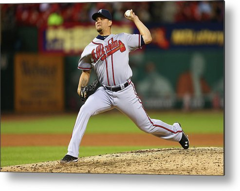 Relief Pitcher Metal Print featuring the photograph Atlanta Braves V St. Louis Cardinals by Dilip Vishwanat
