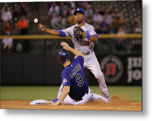 American League Baseball Metal Print featuring the photograph Los Angeles Dodgers V Colorado Rockies by Doug Pensinger