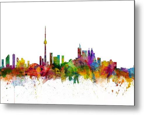 Toronto Metal Print featuring the digital art Toronto Canada Skyline by Michael Tompsett