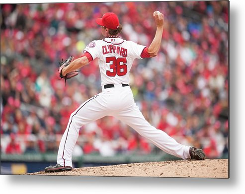 Baseball Pitcher Metal Print featuring the photograph Atlanta Braves V. Washington Nationals by Mitchell Layton