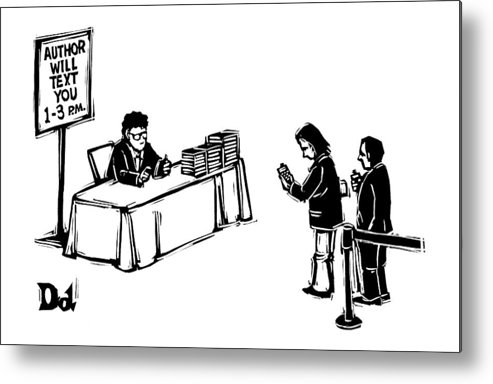 Author Metal Print featuring the drawing New Yorker December 25th, 2006 by Drew Dernavich