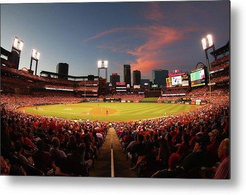 St. Louis Cardinals Metal Print featuring the photograph Cincinnati Reds V St Louis Cardinals by Dilip Vishwanat