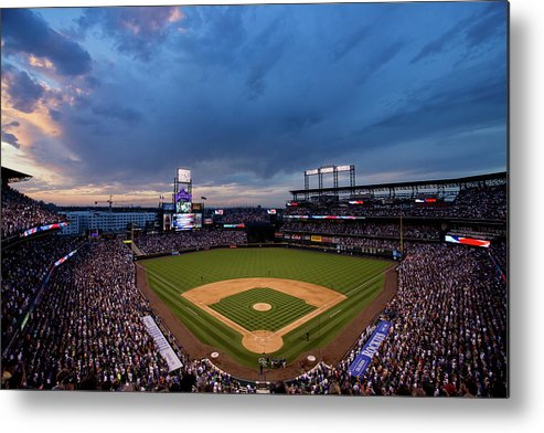 National League Baseball Metal Print featuring the photograph Los Angeles Dodgers V Colorado Rockies by Justin Edmonds
