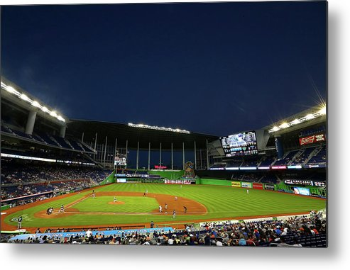 American League Baseball Metal Print featuring the photograph San Diego Padres V Miami Marlins by Mike Ehrmann