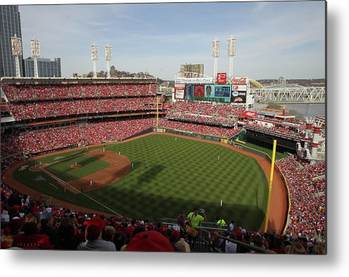 Great American Ball Park Metal Print featuring the photograph St. Louis Cardinals Vs. Cincinnati Reds by John Grieshop