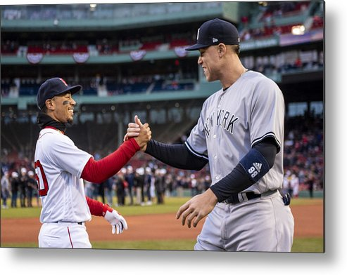 Three Quarter Length Metal Print featuring the photograph New York Yankees v Boston Red Sox by Billie Weiss/Boston Red Sox