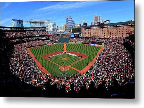 People Metal Print featuring the photograph Boston Red Sox V Baltimore Orioles by Rob Carr
