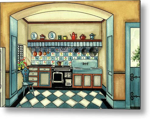 Kitchen Metal Print featuring the digital art A Blue Kitchen With A Tiled Floor by Laurence Guetthoff