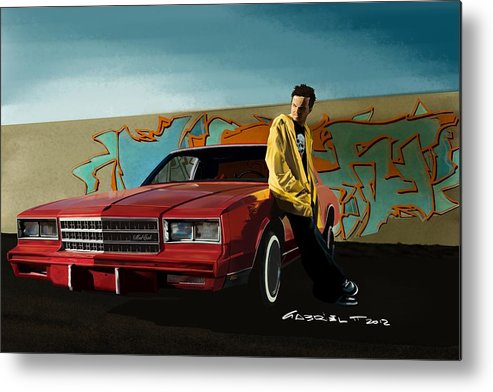 Aaron Paul Metal Print featuring the digital art Aaron Paul as Jesse Pinkman @ TV serie Breaking Bad by Gabriel T Toro