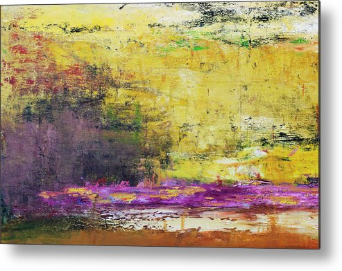 Oil Painting Metal Print featuring the photograph Abstract Painted Yellow Art Backgrounds by Ekely