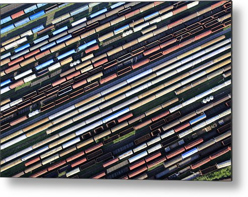 Freight Transportation Metal Print featuring the photograph Aerial View Of The Railway Station by Dariuszpa