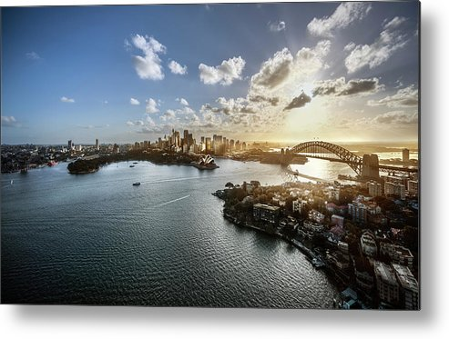 Sydney Harbor Bridge Metal Print featuring the photograph Aeriall View Of Sydney Harbour At Sunset by Howard Kingsnorth