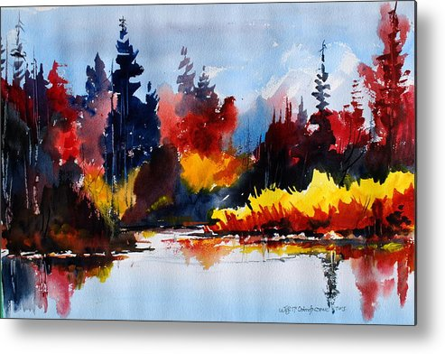 Lakes Reflections Fall Colours Forests Trees Metal Print featuring the painting All things bright nd beautiful by Wilfred McOstrich