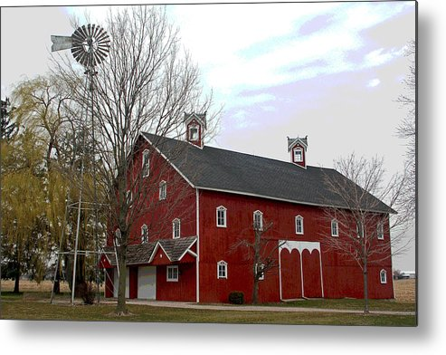 Amish Barn Metal Print featuring the photograph Amish Barn and Wind Mill - Allen County Indiana by Suzanne Gaff