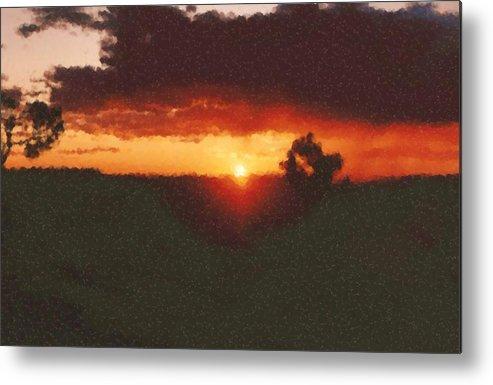 Arizona Sunset Painting Metal Print featuring the digital art Arizona Sunset Painting by Asbjorn Lonvig