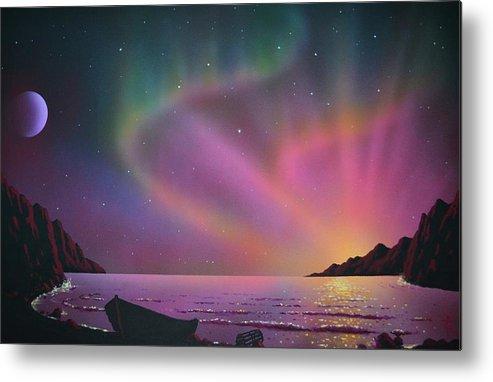 Aurora Borealis Metal Print featuring the painting Aurora Borealis with lobster cage by Thomas Kolendra