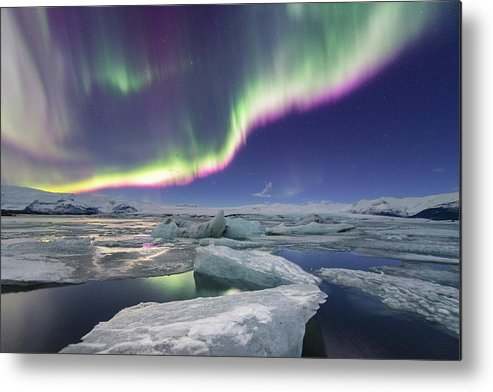 Glacier Lagoon Metal Print featuring the photograph Aurora Displays Over Jokulsarlon by Natapong Supalertsophon