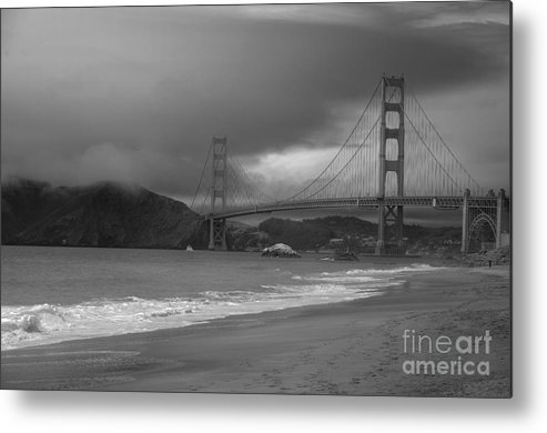 Black And White Metal Print featuring the photograph Baker Beach View by David Bearden