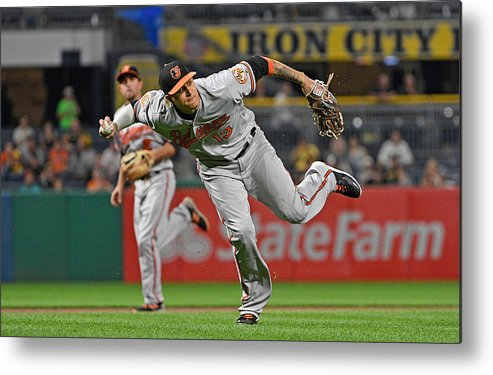 People Metal Print featuring the photograph Baltimore Orioles v Pittsburgh Pirates by Justin Berl