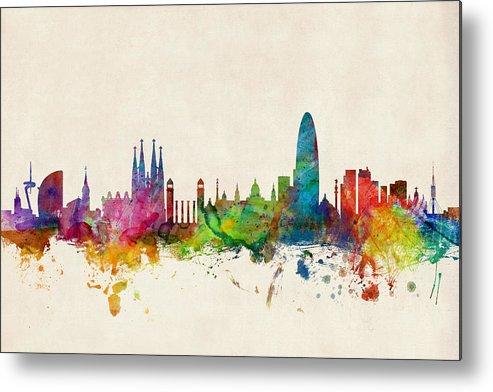 Barcelona Metal Print featuring the digital art Barcelona Spain Skyline by Michael Tompsett